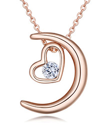 Fashion Rose Gold Color Moon Shape Decorated Necklace