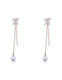 Elegant Rose Gold Bowknot Shape Decorated Earrings