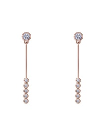Elegant Rose Gold Round Shape Decorated Earrings