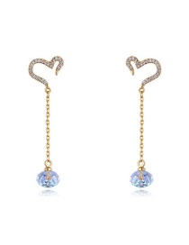 Elegant Gold Heart Shape Decorated Earrings