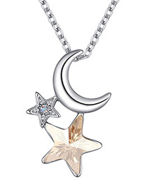 Fashion Gold Color Moon&star Shape Decorated Necklace