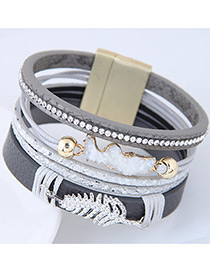 Personality Gray Metal Leaf Shape Decorated Multilayer Bracelet