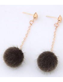 Fashion Coffee Pure Color Decorated Pom Earrings