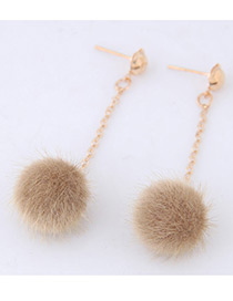 Fashion Light Yellow Pure Color Decorated Pom Earrings