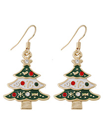 Fashion Green Christmas Tree Shape Decorated Earrings