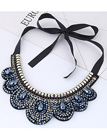 Trendy Dark Blue Water Drop Shape Diamond Decorated Collar Necklace