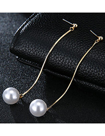 Sweet Gold Color Pearls Decorated Pure Color Long Earrings