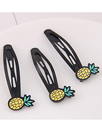 Cute Yellow Pineapple Shape Decorated Hairpin (3pcs)