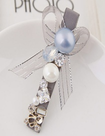 Lovely Gray Diamond&pearl Decorated Bowknot Design Hairpin
