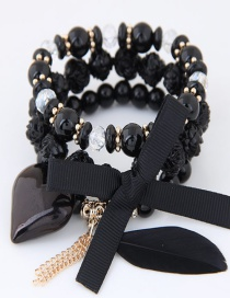 Lovely Black Beads&bowknot Decorated Multi-layer Bracelet