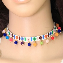 Fashion Multi-color Tassel Decorated Choker