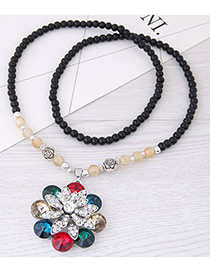 Fashion Multi-color Flower Pendant Decorated Long Necklace