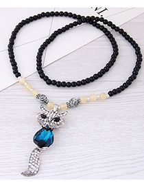 Fashion Blue Fox Pendant Decorated Long Necklace
