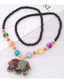Fashion Pink Elephant Pendant Decorated Long Necklace