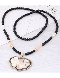 Fashion White Longevity Lock Pendant Decorated Long Necklace