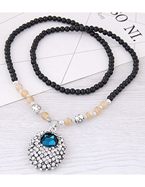 Fashion Blue Round Gemstone Decorated Necklace