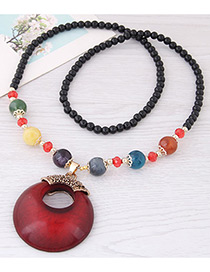 Fashion Red Hollow Out Round Shape Decorated Necklace