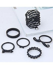 Fashion Black Moustache Shape Decorated Ring (6pcs)