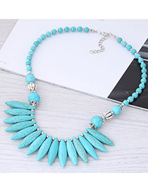 Bohemia Blue Oval Shape Deign Pure Color Necklace