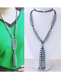 Fashion Silver Color Beads Decorated Tassel Design Necklace