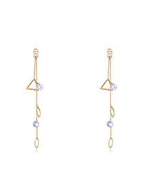 Fashion Gold Color Triangle Shape Decorated Long Earrings