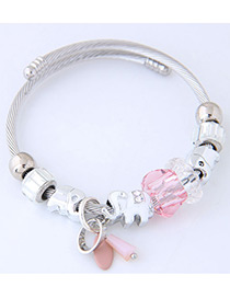 Elegant Pink Elephant Shape Decorated Bracelet