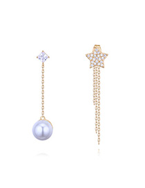 Elegant Gold Color Star Shape Decorated Tassel Earrings