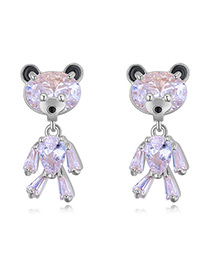 Elegant Silver Color Bear Shape Decorated Earrings