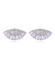 Elegant Silver Color Fan Shape Decorated Earrings