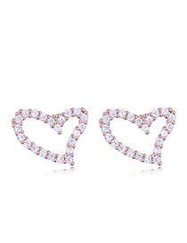 Elegant Rose Gold Heart Shape Decorated Earrings