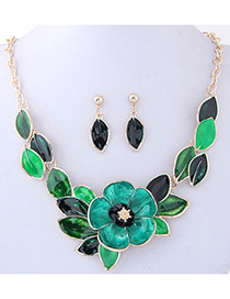 Fashion Green Flower Shape Decorated Jewelry Sets