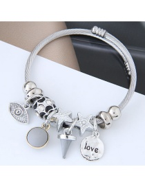 Fashion Silver Color+gray Star&eye Shape Decorated Bracelet