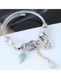 Fashion Silver Color+blue Heart Shape Decorated Bracelet