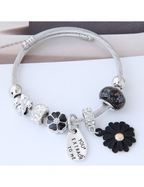 Fashion Silver Color+black Flower Shape Decorated Bracelet