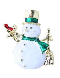 Fashion White Snowman Shape Decorated Christmas Brooch