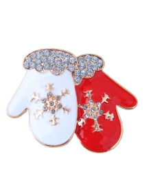 Fashion Red+white Gloves Shape Decorated Christmas Brooch