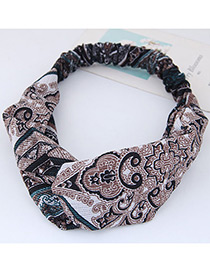Fashion Brown Flower Pattern Decorated Hair Band