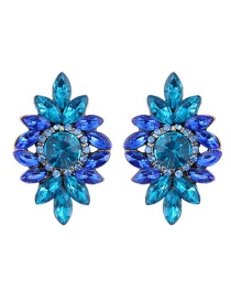 Fashion Blue Diamond Decorated Flower Shape Earrings