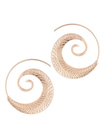 Trendy Gold Color Leaf Shape Decorated Pure Color Earrings