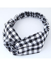 Trendy Black+white Grid Pattern Decorated Cross Design Hair Band