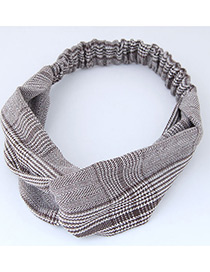 Trendy Coffee+white Grid Pattern Decorated Cross Design Hair Band