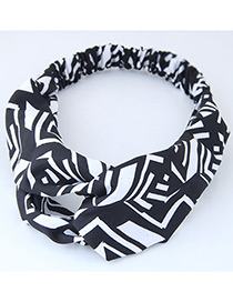 Trendy Black+blue Color Mathcing Decorated Cross Design Hair Band