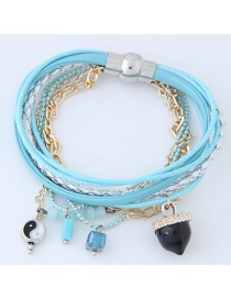 Personality Blue Color-matching Decorated Multilayer Bracelet