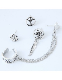 Persoanlity Silver Color Sun Shape Decorated Ear Cilps (4pcs)