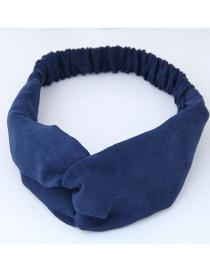 Fashion Sapphire Blue Pure Color Decorated Headband