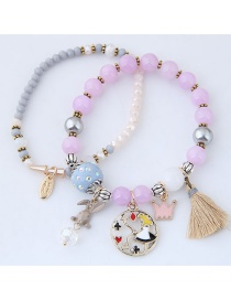 Fashion Purple+gray Rabbit&crown Shape Decorated Bracelet
