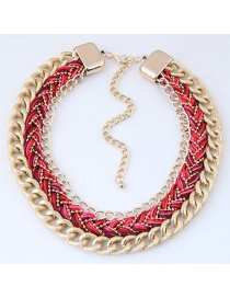 Fashion Red Color Matching Decorated Necklace