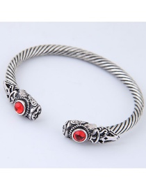 Fashion Red+silver Color Diamond Decorated Bracelet