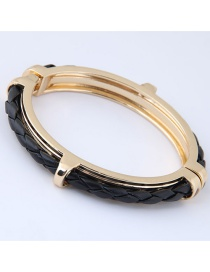 Fashion Black+gold Color Pure Color Decorated Bracelet