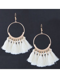 Vintage White Circular Ring Decorated Rassel Earrings